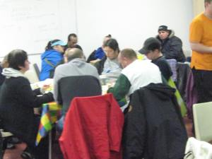 Some of the 100-150 people who come to the Jerico project for a free meal each week