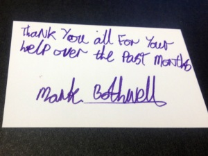 Mark shows his appreciation for the food bank's help