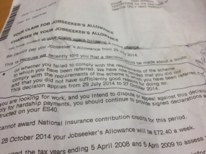The letter from the Department for Work and Pensions to James Dearsley concerning his three-month sanction